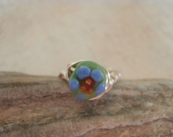 hand crafted wire wrap non-tarnish siver and glass flower stone