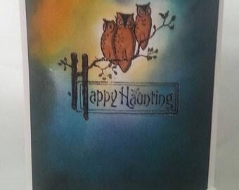 Happy haunting owl card
