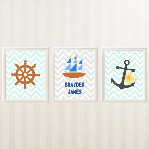 Personalized Nautical Wall Decor : Items similar to personalized nautical wall decor set of