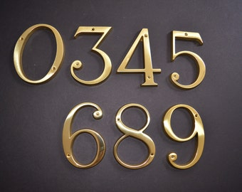 Vintage Solid Brass House Numbers - NOS - Made in Italy - In Original Box with Hanging Hardware - Vintage Numbers - Home Decor