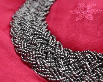 Braided Bead Necklace- Metallic Grey- FREE SHIPPING