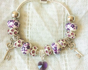 Purple Crystal Heart Keys Painted Beads Silver Plated Charm Bracelet 7.5 Inches