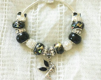 Black Fairy Charm Rhinestone Glass Beads Silver Plated Bracelet 7 Inches