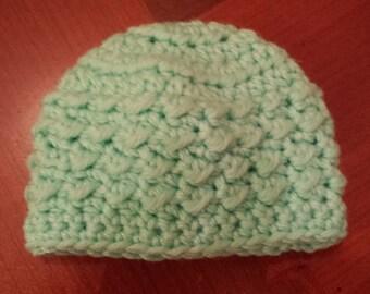 Crochet Baby Hats, Pastel Green, Hats and Caps, Preemie, Crochet Beanie, Newborn Baby Hats, Crochet Hat