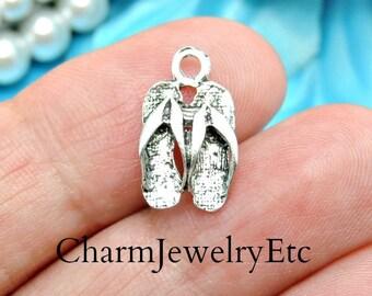 12 Flip Flop Charms Antique Silver Tone Charms Summer Shoe Charms Sandal Charms Bracelet Bangle Bracelet Pendants #502