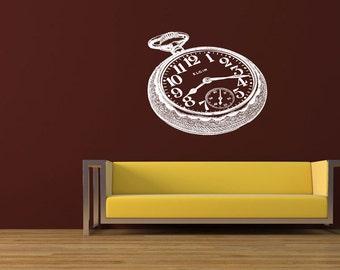 Wall Vinyl Sticker Decals Mural Room Design Pattern Art Nursery Watch Clock Time Retro  bo1614