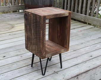 Reclaimed wood end table, night stand, side table, plant stand reclaimed wood end table, industrial side table, entry stand, vintage look