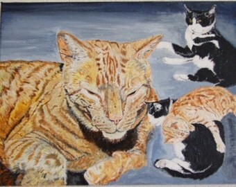 Print of my original painting 'Calm Cats'