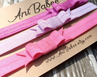Pink baby bow headbands, baby headband set, pink headband set, three pack headband set