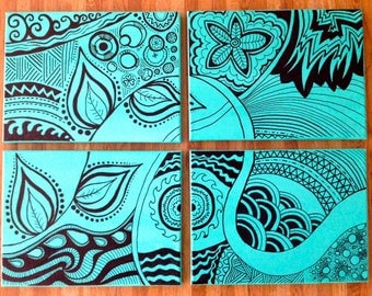 "Original multi canvas art, black zentangle with teal background, 19""x25"" hanging, gift idea"