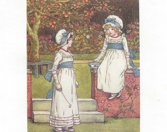 Kate Greenaway children's halftone illustration, c1910