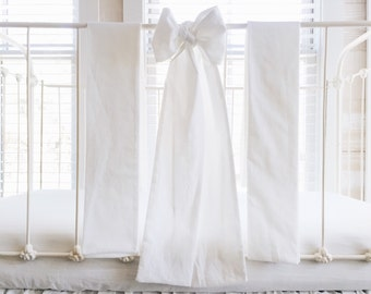 100% Washed Cotton Large Crib Bows in White
