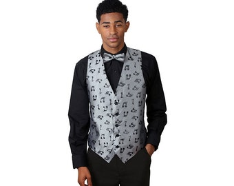 Men Silver Music Notes Pattern Vest