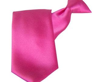 Fuchsia Tie Satin Clip-On Straight Tie