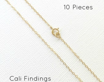 """10pc- 18"""" 14K Gold Fill Chain Finished, Flat Cable Chain Necklace 1.3mm, 10pc, Bulk Chain, Supply Chain, Gold Chain 18 inch [4045]"""