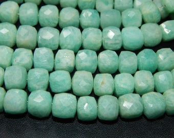 Amazonite Faceted 3D Cube Shape Beads 7x9 mm Approx 100% Natural Top Quality Wholesale Price New Arrival