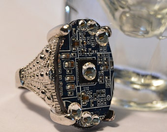 Cyberpunk posh swarovski crystal motherboard computer ring.