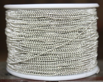 10 meters ( 33 Feet ) 1 mm Diameter Silver Tone / Faceted Ball Chain