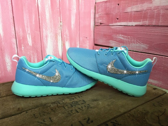 xbwah Blinged Nike Girls\' Womens Roshe Run Shoes Blue by ShopPinkIvy