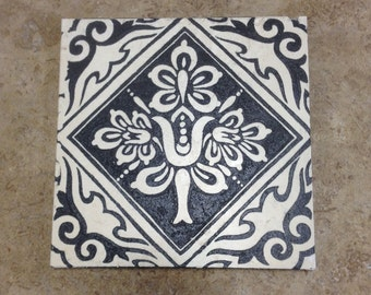 Decorative 6x6 Featuring a Hand Etched Design - Backsplash Tile