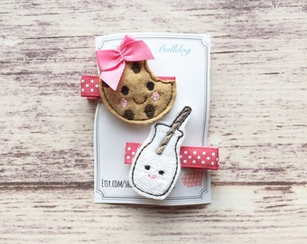 Milk and Cookies Hair Clips- Feltie Hair Clips,The Bitty Bulldog, Baby Hair Clip, Girls Hair Clip, Clippie