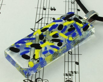 Fused Glass Pendant Necklace - Neon Yellow, Black & Blue Sprinkles on Clear Glass - includes Black Satin Cord Necklace