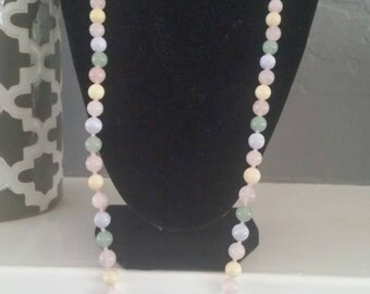 Pastel hand knot bead necklace