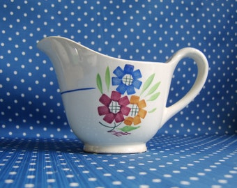 Hand Painted French cottage style jug. Cream ceramic and hand painted. Made by K&G Luneville of France with hand painted 'Agnes' pattern