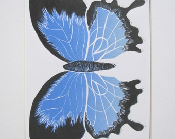 Signed Limited Edition Butterfly Reduction Lino Blue and Black Butterfly Lino Print