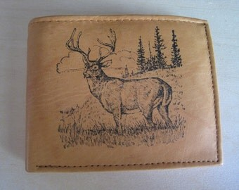 "Mankind Wallets Men's Leather RFID Blocking Billfold w/ ""Large Buck/Deer Hunting"" Image~Makes a Great Gift!"