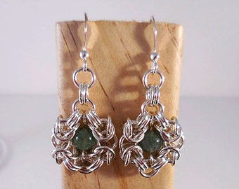 Chainmaille Earrings, Sterling Byzantine Earrings, Byzantine Floral, Flower Earrings, Sterling Chainmaille, Renaissance Style Earrings