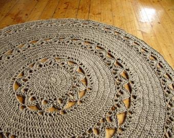 "Round Jute Doily Crochet Rug 48"". 100% naturals materials"