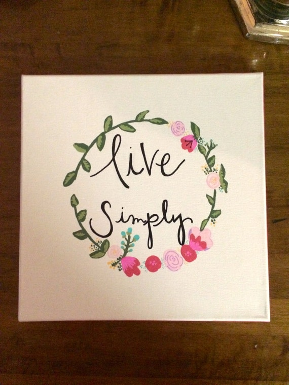 Live simply canvas quote painting home decor wall art for Live simply wall art