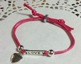 "DIY Waxed Cotton Cord ""Love & Heart"" charm bracelet kit"