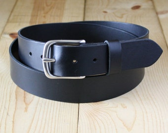 "1-1/4"" Handmade Bullhide Leather Belt_Stainless Steel Buckle_Men's Leather Belt_Black_American Leather"