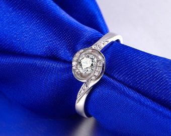 18k White Gold Diamond Ring Band Engagement Wedding Birthday Anniversary Valentine's
