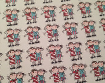 Set of friend, sister, girl stickers -  for your EC, plum paper, planner