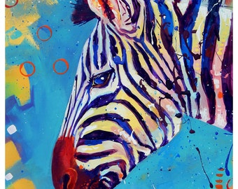 "Zebra 2 - Original colorful traditional painting paper acrylic 8.5""x11"""