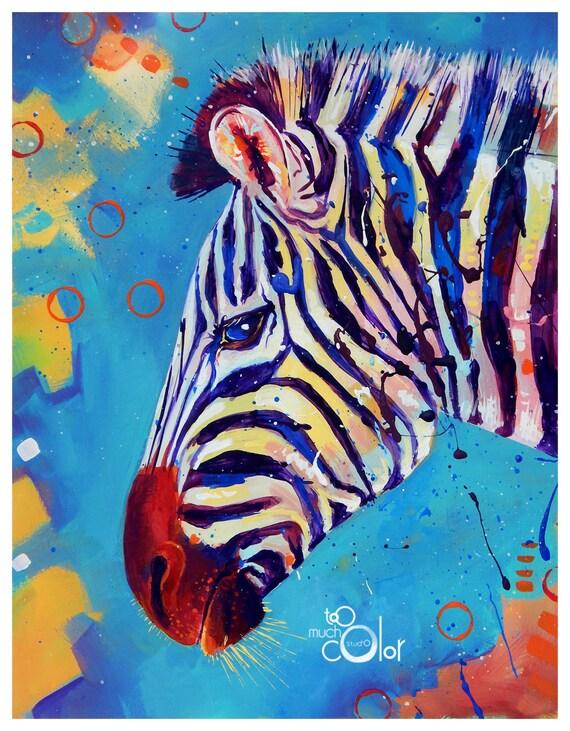 Colorful Zebra Print Nail Art Tutorial: Zebra 2 Original Colorful Traditional Painting Paper Acrylic