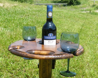 wine table, wine glass holder, outdoor wine, outdoor wine glass holder, outdoor wine stand, outdoor wine table