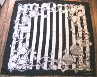Escada Silk Scarf, Vintage Escada scarf, Escada Designer Scarf, Vintage Silk Scarf in Black and White, Casual Scarf, Designer Scarf