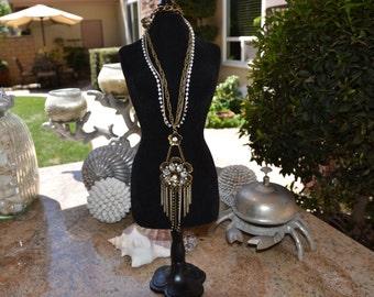 Antique Gold Vintage Rhinestone Rose Necklace