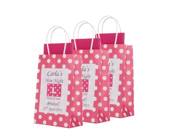 Personalised Pink Polka Dot Hen Party Gift Bag- Empty x1