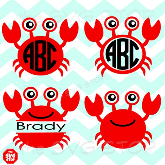 Crab Designs And Monogram Bases Svg And Studio Files By