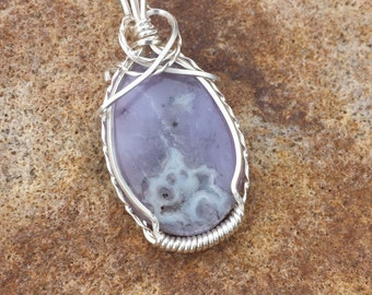 Necklace Pendant Violet Purple Agate Gemstone Silver Wire Wrapped