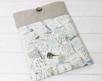 Macbook Pro case, Postcard pattern, Pro Retina Sleeve, Linen laptop sleeve, antique pattern case, Paris laptop case, 15 inch laptop case