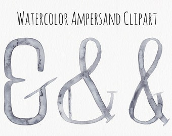 watercolor ampersad clipart .png