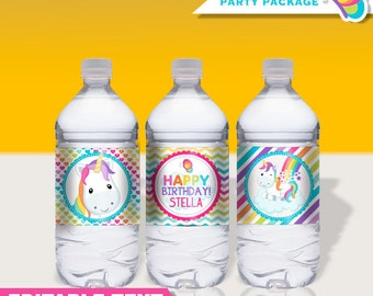 Editable Unicorn Rainbow Birthday Party Water Bottle Label - Drink Wraps