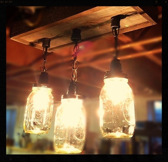 Just Reduced Rustic Handmade 3 Bulb Hanging Light Fixture Or: Rustic Mason Jar Barn Wood Ceiling Light / Chandelier
