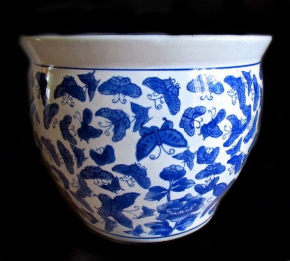 Vintage chinese fish bowl planter 13 5 opening for Chinese fish bowl planter